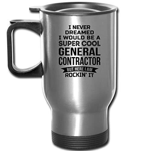Funny General Contractor Gifts Travel Mug Appreciation 14 oz Mug For Men Women Silver
