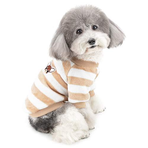 ZUNEA Jerséis Invierno para Perro Pequeño Forro Polar Invierno Abrigos Chaquetas para Cachorros a Rayas Supersuave Ropa para Climas Fríos para Mascotas Chihuahua Gatos Perros Niñas Niños Marrón XXL