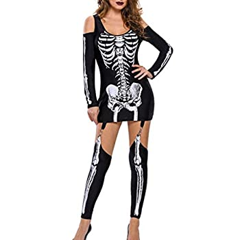 Iusun Women Dress Punk Halloween Skeleton Print Cold Shoulder Long Sleeve Jumpsuit for Special Occasions Party Decoration Cosplay Wear