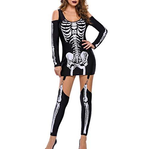 Allegorly Damen Halloween Unheimlich 3D Gespenstisch Skelettdruck Bodycon Party Cosplay Kostüm Overalls Retro Punk Jumpsuit Bodysuit Anzug Karneval Fasching