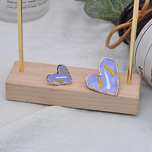 bjyxszd Pendientes Colgantes Zirconia cúbica Plata de Ley 925,Pendientes de Aceite de Goteo asimétrico de la Aguja S925, joyería de uñas de Nail de Nuevo corazón de melocotón-púrpura