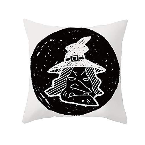 Funda de Cojín Decorativos Funda de Almohada Fantasma negro Cuadrado Terciopelo Suave Cojines Decoracion con Cremallera Invisible para Sofá Cama Decoración Hogar Funda de Cojín M16 Pillowcase,55x55cm