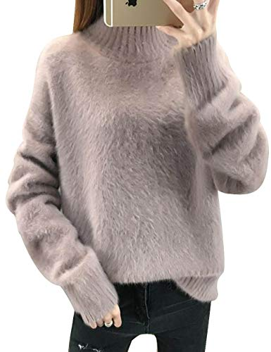 SOMTHRON Donna Maglione in Cashmere Casual Autunno/Inverno con Collo Alto e Caldo 4 Colori(GY)