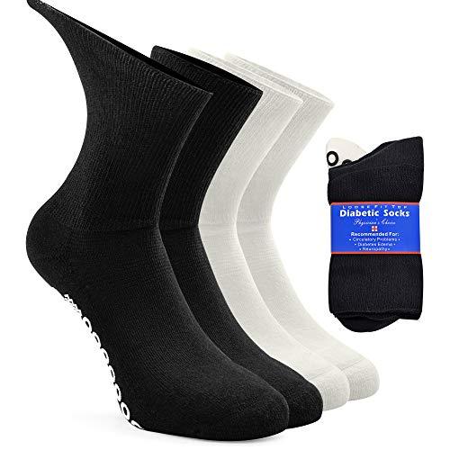 Womens Warm Diabetic Socks, Socks Daze Mens Stays Up Seniors No Blister Cushion Sole Gift Socks for Elderly Parents and Pregnant Women 4 Pack Muliti-colored Medium