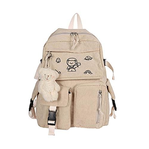 Dibujos animados bordado pana mochila retro color sólido casual Daypack J60D, color Blanco, talla Talla única