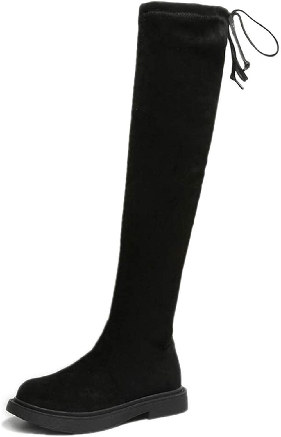 Hoxekle Winter Women Sexy Over The Knee Boots Lace Up Flats Square Heels Rubber Elastic Cloth Thigh High Boots