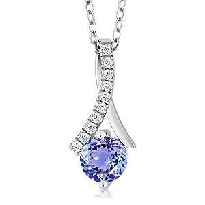 Sterling Silver Tanzanite Womens Pendant Necklace