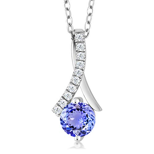 Gem Stone King 925 Sterling Silver Tanzanite Women's Pendant Necklace For Women (1.05 Cttw, With 18 Inch Silver Chain)