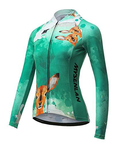MYSENLAN Damen Longarm Radtrikot Fahrradtrikot Fahrradbekleidung für Fraunen mit Elastische Atmungsaktive Schnell Trocknen Stoff