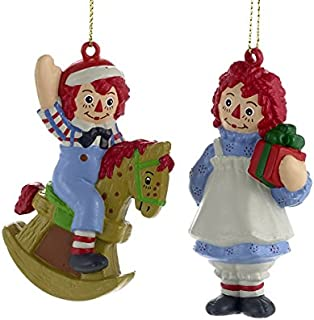 Kurt Adler 1 Set 2 Assorted Blow Mold Raggedy Ann And Andy Ornaments