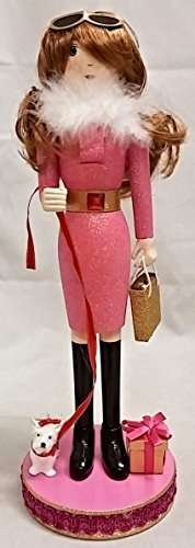 Pink Shopping Girl Holding Purse Wooden Christmas Nutcracker 14 Inch