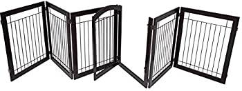 BIRDROCK HOME Indoor Dog Pet Gate with Door - 6 Panel - 30 Inch Tall - Enclosure Kennel Pet Puppy Safety Fence Pen Playpen - Durable Wooden and Wire - Folding Z Shape Free Standing  Espresso