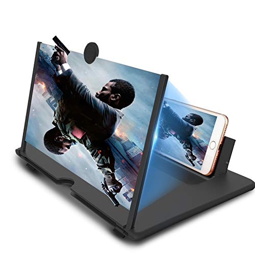14 inch Screen Magnifier for Mobile Phone,Anti-Radiation Eye Protection with Foldable Stand-3D Magnifier Projector Screen for Movies, Videos,Reading,Gaming,Compatible with All Smartphones-Black