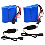 Blomiky 2 Pack H102 7.4V 600mAh 4.44Wh Battery and USB Charger Cable for H120 H100 H102 H106 H108 T1 T02 RC Boat H102 Battery and USB 2