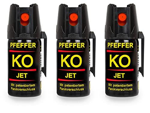 Pfefferspray KO Jet Hundeabwehr Verteidigungsspray 40ml Abwehrspray Pepper Defender (KO Jet 40 ML 3er Set)