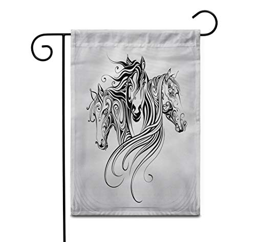 Awowee 12'x18' Garden Flag Tattoo Heads of Horse are in Pattern Animal Celtic Outdoor Home Decor Double Sided Yard Flags Banner for Patio Lawn