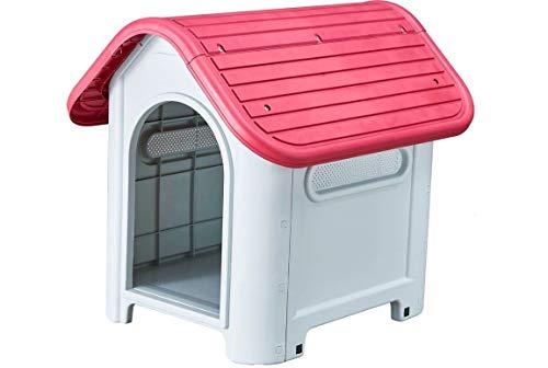 acquaverde Cuccia Casetta per Cani Taglia Media in PVC Resina da Esterno 75x60x66h Cm Giardino