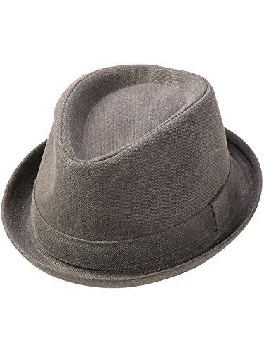 Fiebig Pork Pie Hut aus 100% Baumwolle Used Look, Farben:grau, Kopfgröße:57