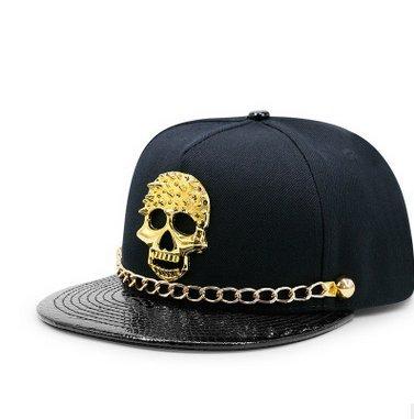 Drawihi Sombrero de cuero con cadena de botones cráneo remaches hip hop gorra de béisbol hip hop flat hat
