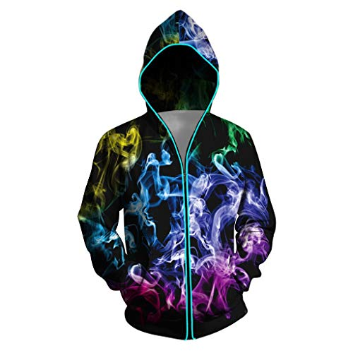 Light Up Hoodie for Men Zip up 3D Pattern Print LED Jacket Glow Sweatshirts with Pockets (Black, S)