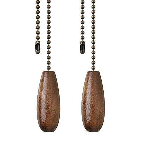 Ceiling Fan Pull Chain, 2 Pieces 12-inch Long 3mm Diameter Beaded Ball Chains Bronze with Walnut Wooden Pulls Cord