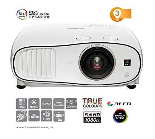 Epson EH-TW6700W 3LCD, Full HD Super Resolution, 3000 Lumens, 300 Inch Display, Wi-Fi, Wide Lens Shift Range, Home Cinema 3D Projector - White