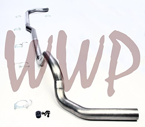 "Performance Racing Off Road 4"" Aluminized Steel Straight Pipe Kit Turbo Back Exhaust System & Downpipe Included For 1988-1993 Dodge Ram D250 D350 Cummins 5.9L Diesel Pickup Truck 2WD Only"