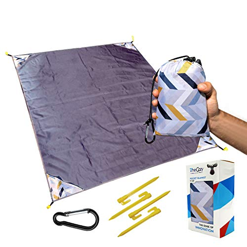 Sand Free Compact Beach Blanket - Pocket Picnic Sheet for Outdoor Multiple Use   Best Mat for Travel & Festivals, Soft & Quick Drying with 4 Portable Hiking Sticks (Arrow Exclusive)