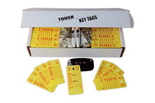 Poly Key Tag, Car Key Tag, 500 per Box, with Rings and Pens Tough (Survivor) (Yellow) Photo #4
