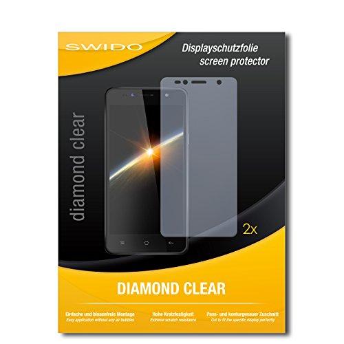 SWIDO 2 x Bildschirmschutzfolie Siswoo C55 Longbow Schutzfolie Folie DiamondClear unsichtbar