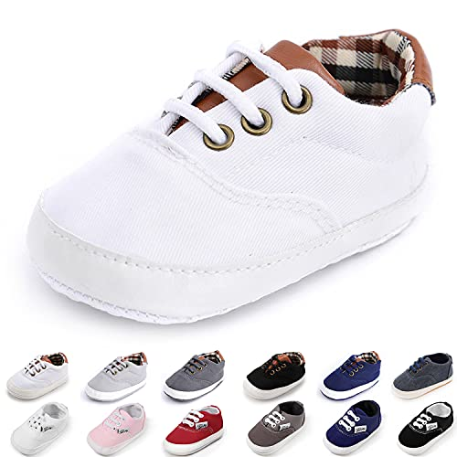 Morbido Infant Baby Boys Girls Canvas Sneaker Toddler Slip On Anti Skid Newborn First Walkers Candy Shoes for 0-18 Months (1_White 2, 0_Months)