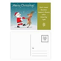 クリスマスのサンタクロースのヘラジカ・フェスティバル 詩のポストカードセットサンクスカード郵送側20個