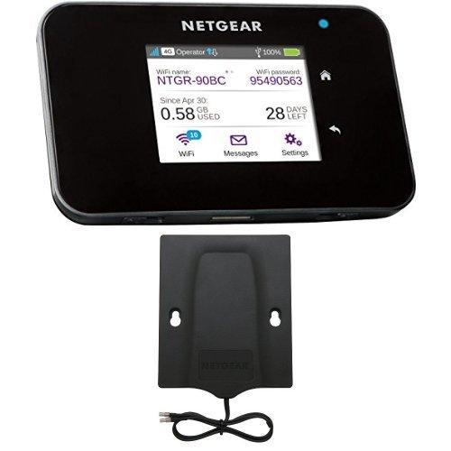Netgear AC810-100EUS Router Mobile 4G LTE 600 Mbps, Wi-Fi Hotspot Dual Band AC, Touchscreen, Funzione di Caricabatteria Portatile, Compatibile 3G, Porta USB, Nero 6000450 antenna