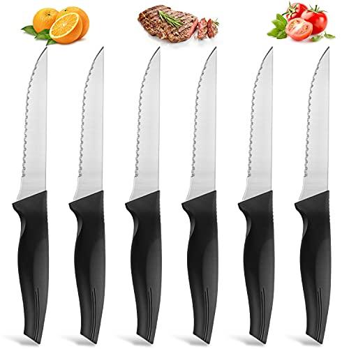Set di 6 coltelli da bistecca BEWOS, posate per coltelli da bistecca in acciaio inossidabile, lavabili in lavastoviglie, coltello da bistecca con manico in plastica