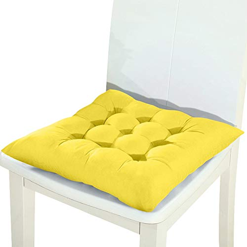 Square Solid Color Chair Pad Thicker Cushion, Outdoor Garden Sofa Buttocks Cushion, Solid Color Kitchen Dining Chair Mat Comfort Non-skid 45x45cm yellow