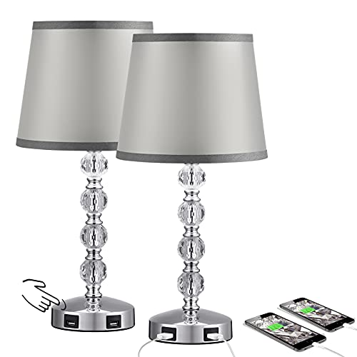 Acaxin 17'' Cute Crystal Table Bedside Lamp Set of 2, 3 Way Dimmable & 2 USB Charging Ports, Touch Control Nightstand Lamp with Modern Gray Shade, Small Bed Lamp for Bedroom, Guest Room(Bulb Included)
