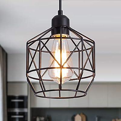 Q&S Pendant Light Fixture Farmhouse Black Basket Cage Hanging Ceiling Light,Industrial Lighting Fixture Perfect for Island Kitchen,Dining Room Closet Bar Entryway,Bathroom,E26 1 Light