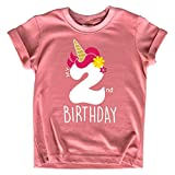 Unicorn 2nd Birthday Outfits for Toddler Girls Two Year Old 2 Shirt Girl Second (Mauve, 2T)