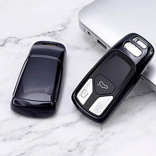 ZHHRHC Soft TPU Remote Smart Card Car Key Shell Fob Auto Case, para Audi S4 S5 A4 A5 A6L Q3 Q5 Q7 TT 2017 Llavero