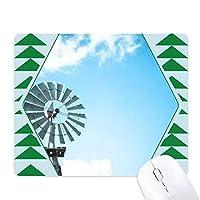 青い空白い雲の風車 オフィスグリーン松のゴムマウスパッド
