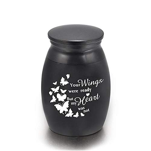 DXQH Cremation Urns Medium Butterfly Pattern Cremation Urns Funeral Urn For Ashes Holder Human Small Keepsake - Your Wings Were Ready My Heart Was Not