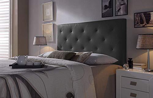 Cabezal tapizado Rombo 160X115 Negro, Acolchado con Espuma, 8 cm de Grosor, Incluye herrajes para Colgar