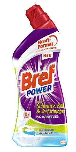 Bref Power WC KraftGel 15x Effekt gegen Schmutz, Kalk und Verfärbungen, 1 L, WC Reiniger für kraftvolle Reinigung