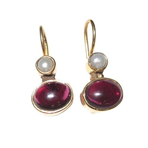 Kleine Granat-Ohrringe rot echte Süßwasser-Perle Hänger verschließbar Silber vergoldet Handarbeit Unikat Italien Geschenk Frauen Mädchen Geburtstag