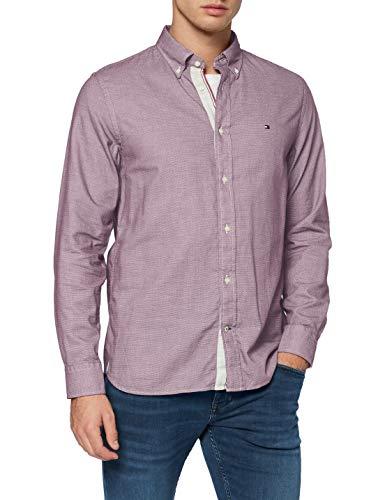 Tommy Hilfiger Herren Melange Dobby Shirt Hemd, Deep Rouge, L