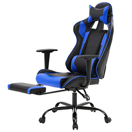 Executive, Swivel, Leather Racing Style, High-Back Gaming Office Chair with Lumbar Support and Headrest.