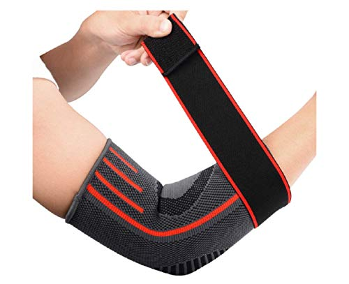 2 Pack Elbow Support Brace, Adjustable Breathable Nylon Elastic Elbow Sleeve Brace Compression Wrap for Golf Tennis Sports Training Women Men, Elbow Pain Relief (Red, M)