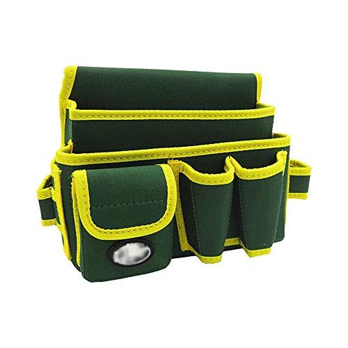 BGROESTWB Verktygsbälten slitstark multifunktionell midjeverktyg bälte verktyg organiseringsväska för elektriker snickare byggare naglar påse för elektriker (färg: Grön, storlek: 28 x 14 x 19,5 cm)