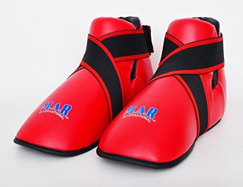 M.A.R International Ltd. Halbkontakt-Fußschutz für Kampfsport, Karate, Taekwondo, Boxen, Kickboxen, Thaiboxen, MMA, Muay Thai, Rot, Größe M