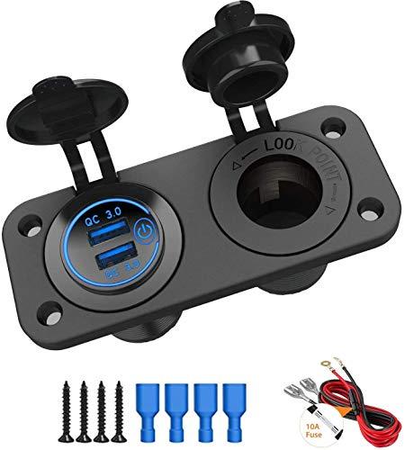 Enchufe de 12 V, cargador USB para coche, QC 3.0, con interruptor táctil + divisor de encendedor para moto, barco, camión, caravana, azul marino (incluye fusible de 10 A)
